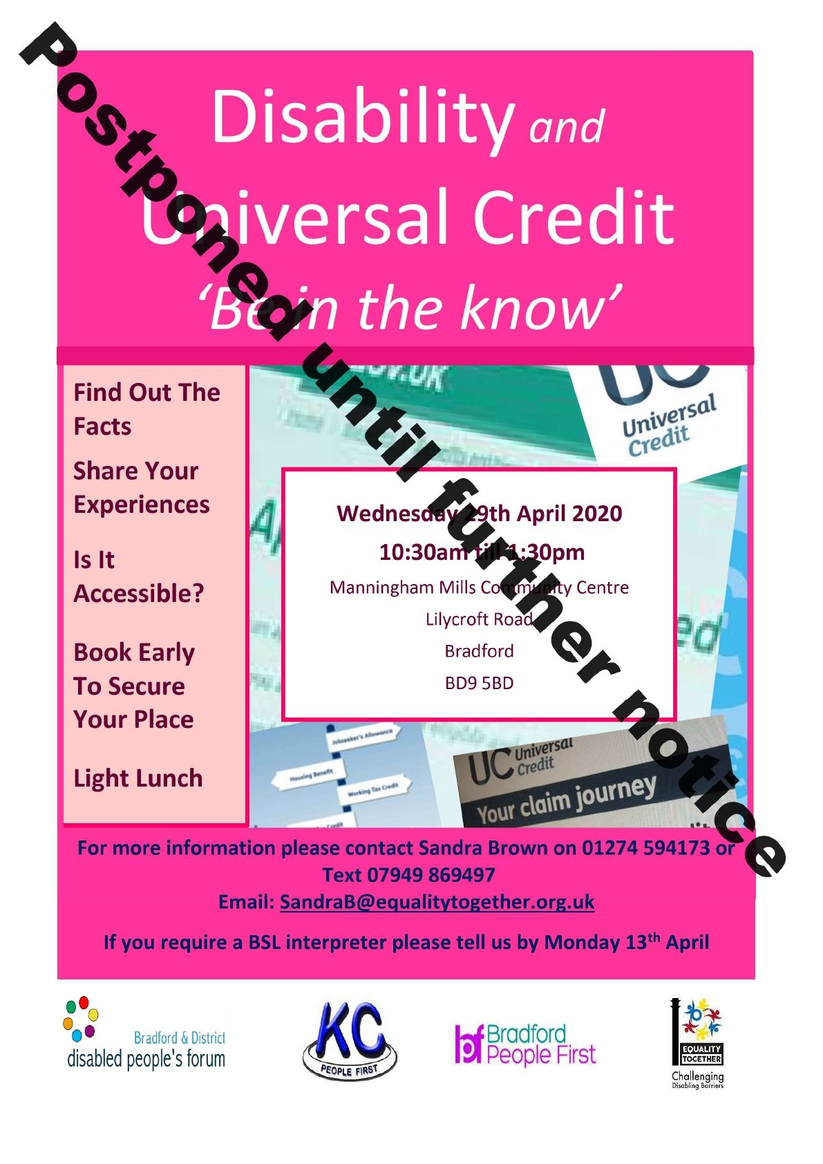 Disability and Universal Credit event on Wednesday 29th April – postponed until further notice